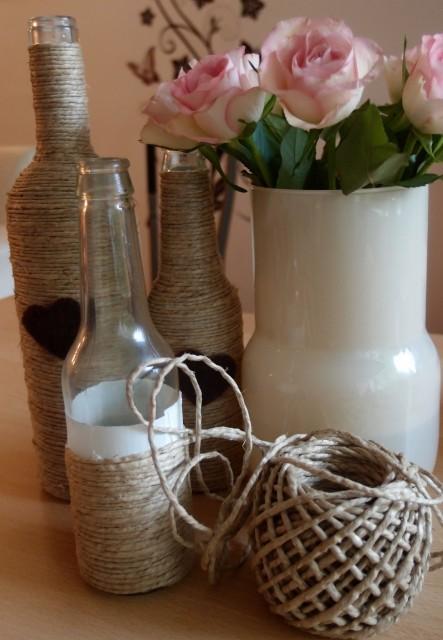 DIY, Flaschen mit Paketschnur