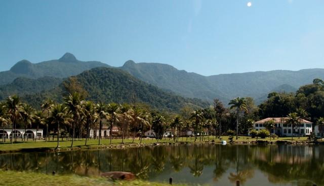 Teich mit Palmen vor den Bergen in Brasilien